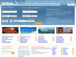 This is what the airfare.com website looks like.