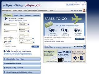 This is what the alaskaair.com website looks like.