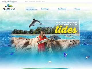 This is what the seaworldparks.com website looks like.