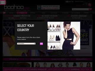 This is what the boohoo.com website looks like.