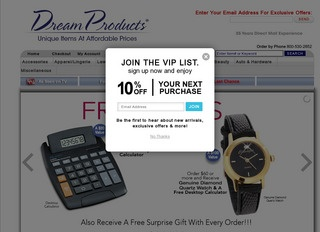 This is what the dreamproductscatalog.com website looks like.