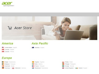 This is what the store.acer.com website looks like.