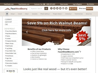This is what the fauxwoodbeams.com website looks like.