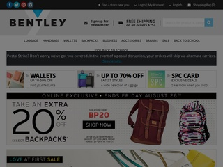 This is what the shopbentley.com website looks like.