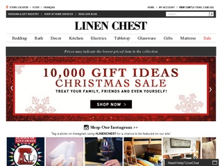 This is what the linenchest.com website looks like.