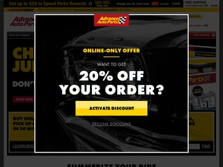 This is what the advanceautoparts.com website looks like.