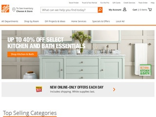 This is what the homedepot.com website looks like.