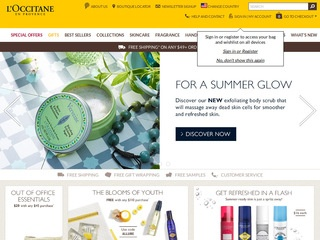 This is what the usa.loccitane.com website looks like.