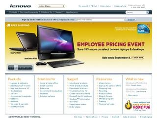 This is what the lenovo.com website looks like.