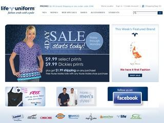 This is what the lifeuniform.com website looks like.