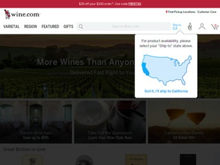 This is what the Wine.com website looks like.