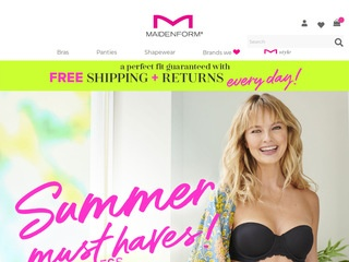 This is what the maidenform.com website looks like.
