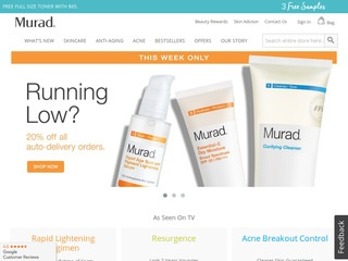 This is what the murad.com website looks like.