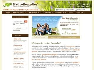 This is what the nativeremedies.com website looks like.