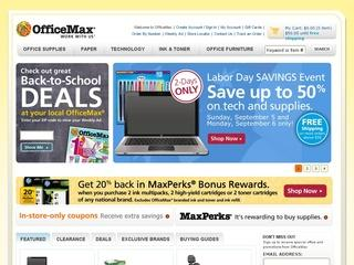 This is what the officemax.com website looks like.