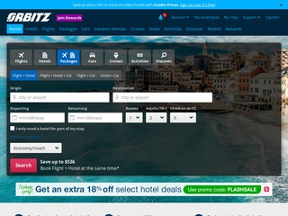 This is what the orbitz.com website looks like.