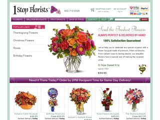 This is what the 1stopflorists.com website looks like.