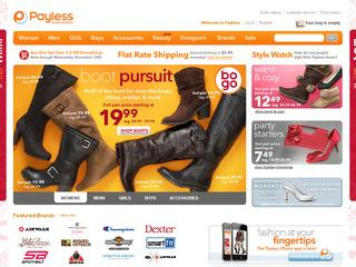 This is what the payless.com website looks like.