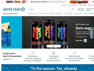 This is what the samsclub.com website looks like.