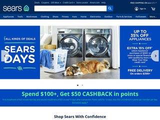 This is what the sears.com website looks like.