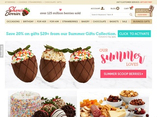 This is what the Shari's Berries website looks like.