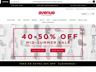 This is what the avenue.com website looks like.