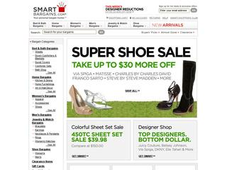 This is what the smartbargains.com website looks like.