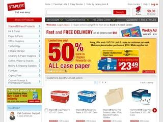This is what the staples.com website looks like.