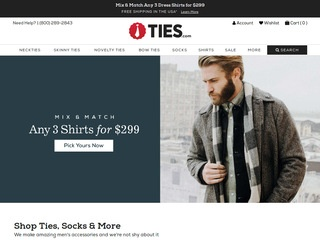 This is what the ties.com website looks like.