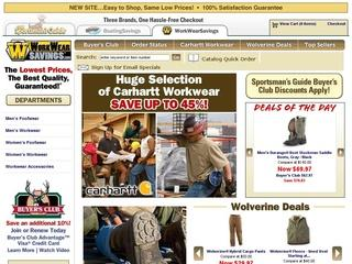 This is what the workwearsavings.sportsmansguide.com website looks like.