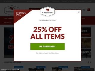 This is what the wisefoodstorage.com website looks like.