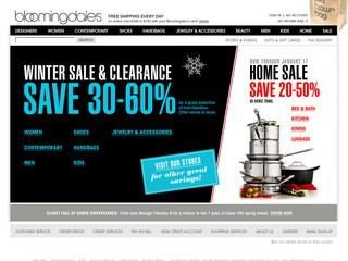 This is what the bloomingdales.com website looks like.