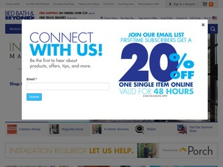 This is what the bedbathandbeyond.com website looks like.