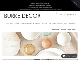 This is what the burkedecor.com website looks like.