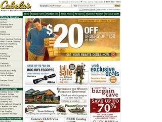 This is what the cabelas.com website looks like.