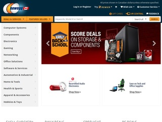 This is what the newegg.ca website looks like.