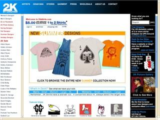 This is what the 2ktshirts.com website looks like.