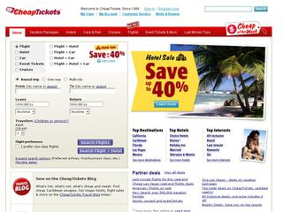 This is what the cheaptickets.com website looks like.