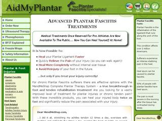 This is what the aidmyplantar.com website looks like.