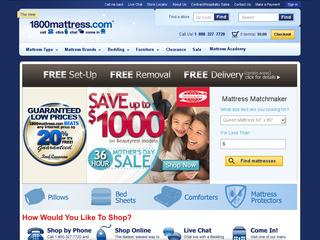 This is what the 1800mattress.com website looks like.