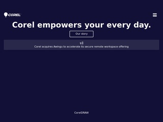 This is what the corel.com website looks like.