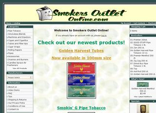 This is what the smokersoutletonline.com website looks like.