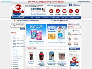 This is what the 911healthshop.com website looks like.