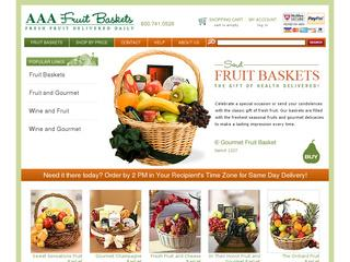 This is what the aaafruitbaskets.com website looks like.