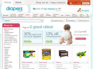 This is what the diapers.com website looks like.