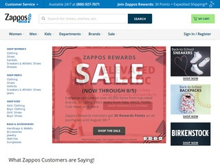 This is what the zappos.com website looks like.