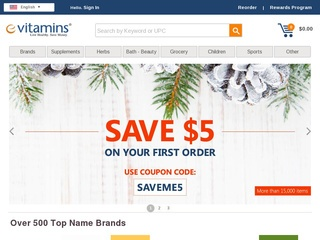 This is what the evitamins.com website looks like.