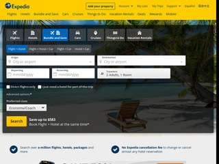 This is what the expedia.com website looks like.