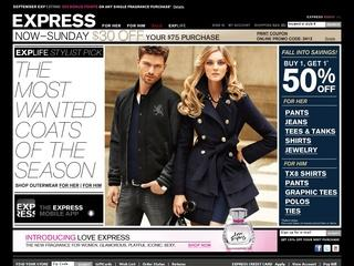 This is what the express.com website looks like.