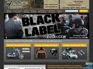 This is what the adventureharley.com website looks like.